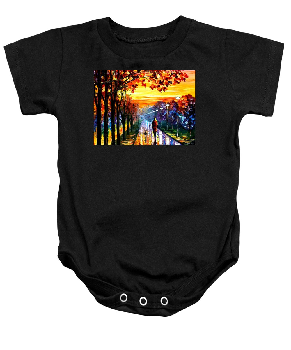 Afremov Baby Onesie featuring the painting Evening Stroll by Leonid Afremov