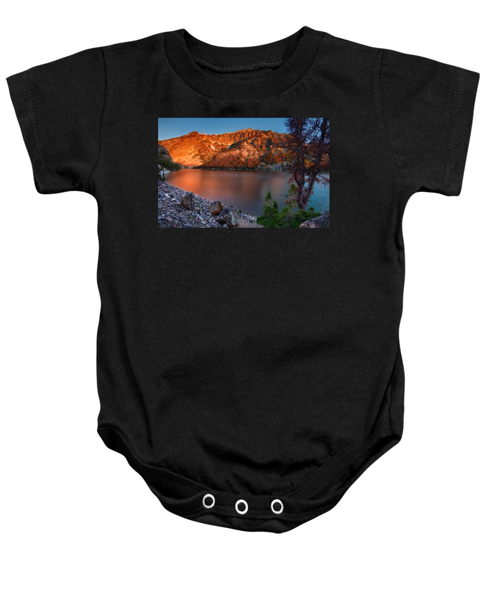Idaho Scenics Baby Onesie featuring the photograph Everson Lake by Leland D Howard