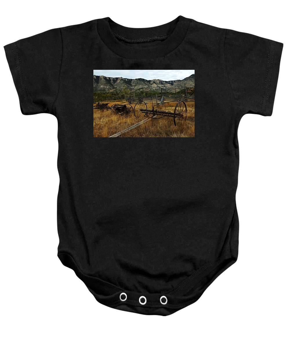Bighorn Canyon National Recreation Area Baby Onesie featuring the photograph Ewing-snell Ranch 4 by Larry Ricker