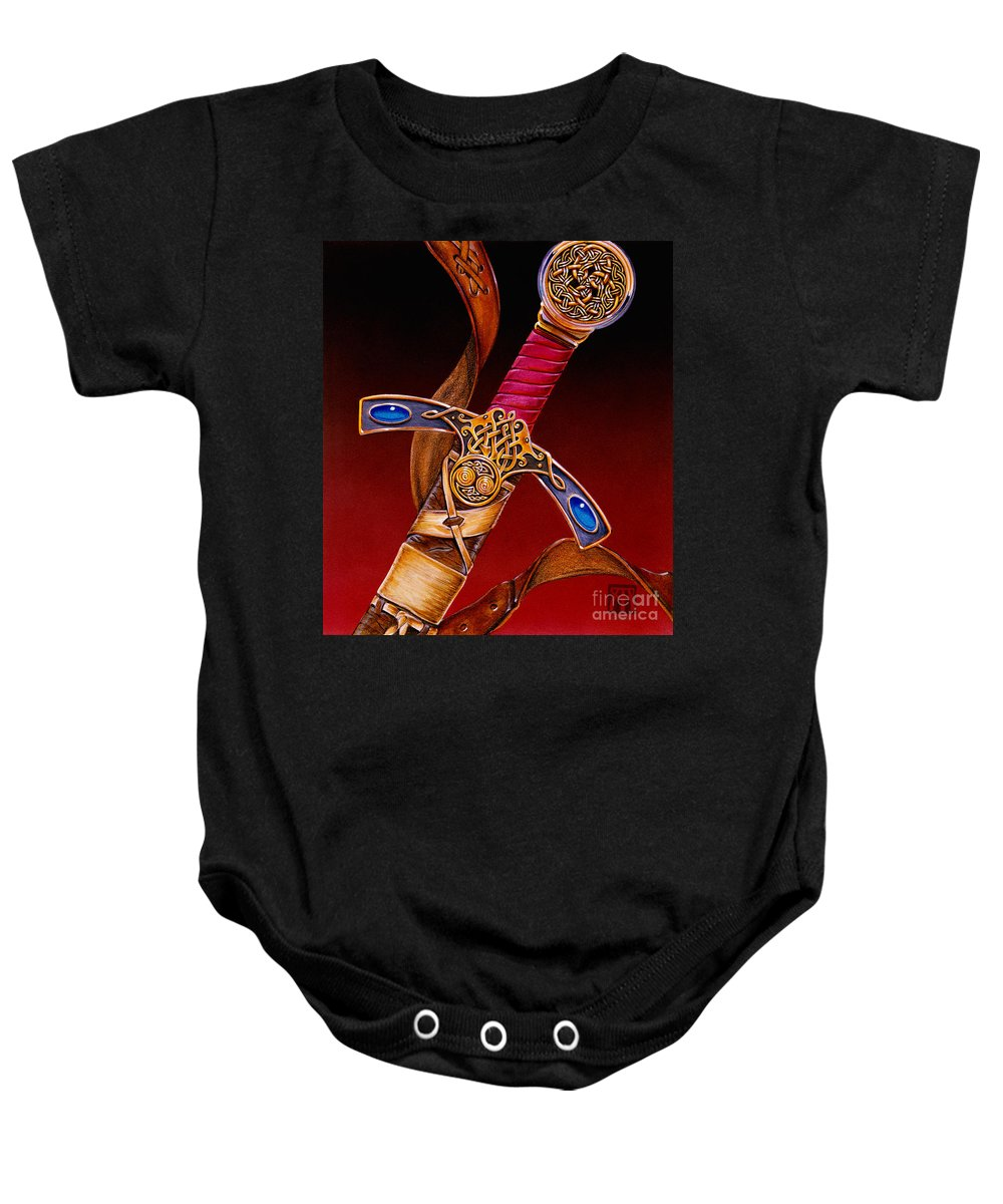 Swords Baby Onesie featuring the mixed media Excalibur by Melissa A Benson
