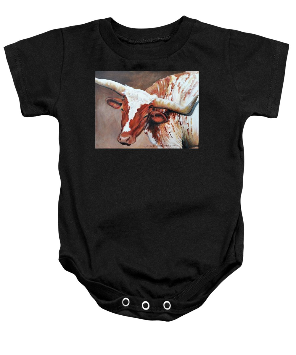 Cattle Baby Onesie featuring the painting Excuse Me by Marlene Bonneville
