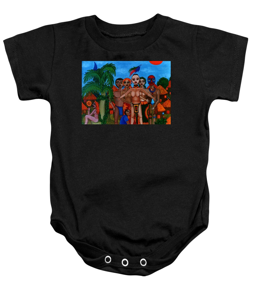 Homeland Baby Onesie featuring the painting Exiled In Homeland by Madalena Lobao-Tello
