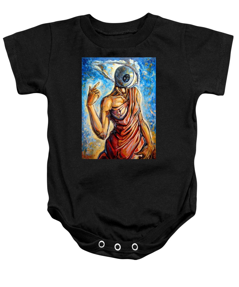 Surrealism Baby Onesie featuring the painting Eye Always Was - Symbolic Representation Of Universal Energy by Darwin Leon