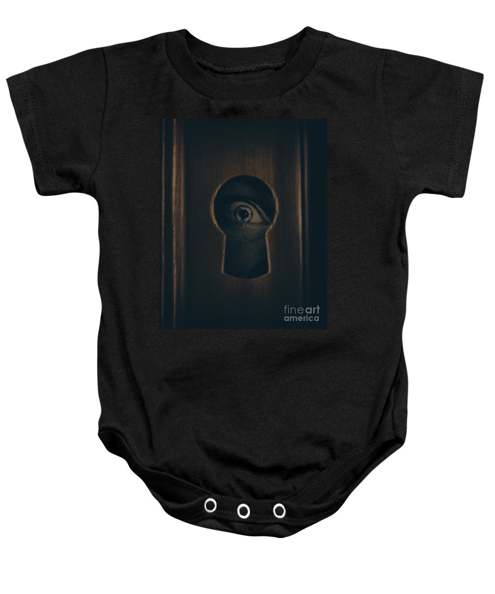 Keyhole Baby Onesie featuring the photograph Eye Looking Through Door Keyhole by Jorgo Photography - Wall Art Gallery