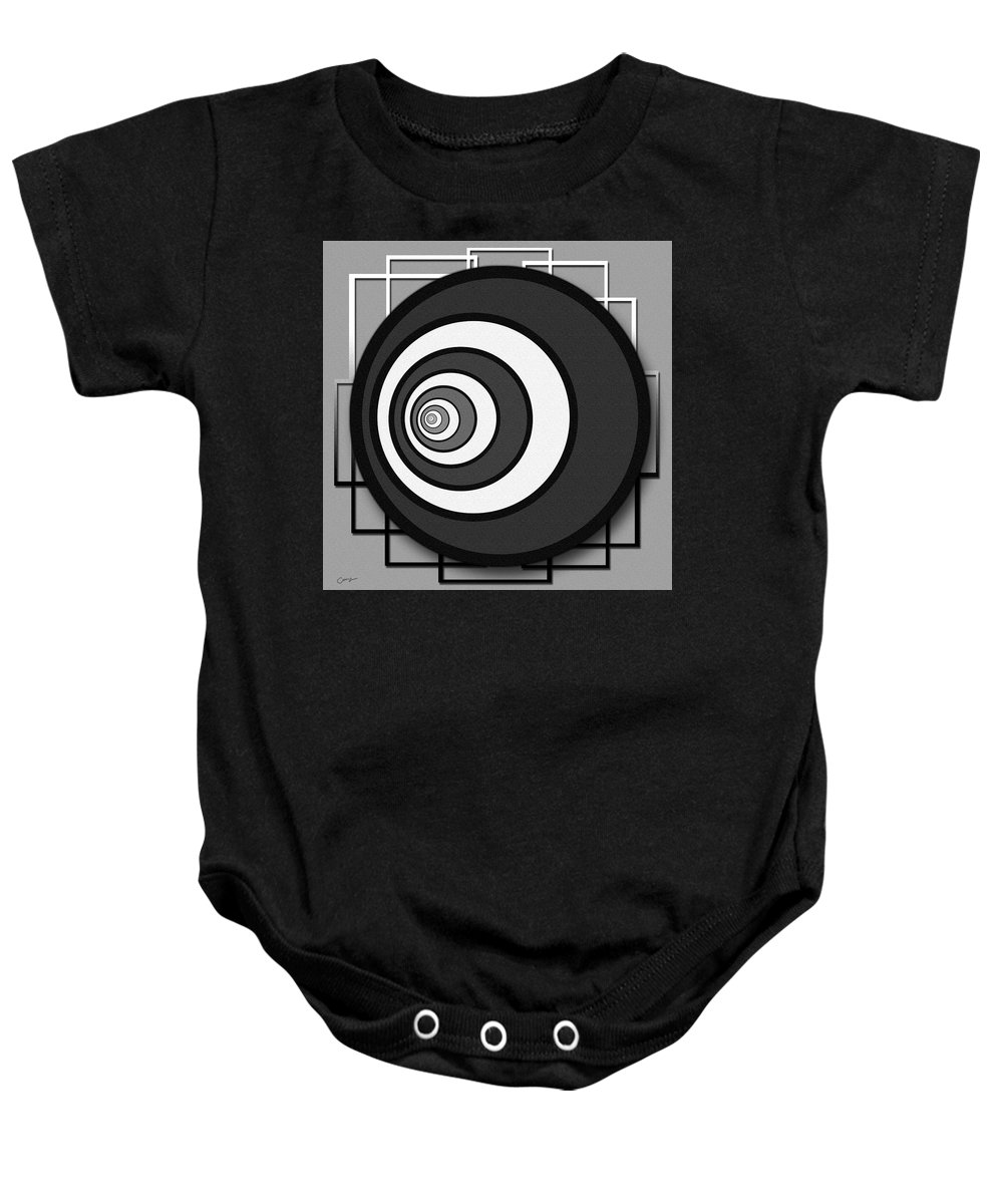 Bold Baby Onesie featuring the digital art Eye Of The Circle by Cherie Scott