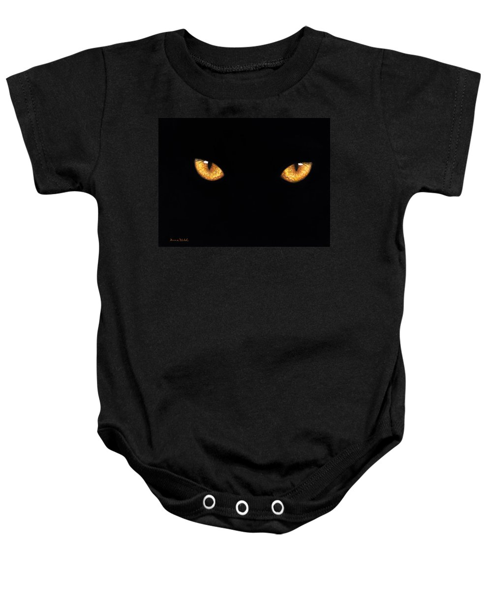 Panther Baby Onesie featuring the painting Eyes In The Night Oil.jpg by Donna Hillman Walsh