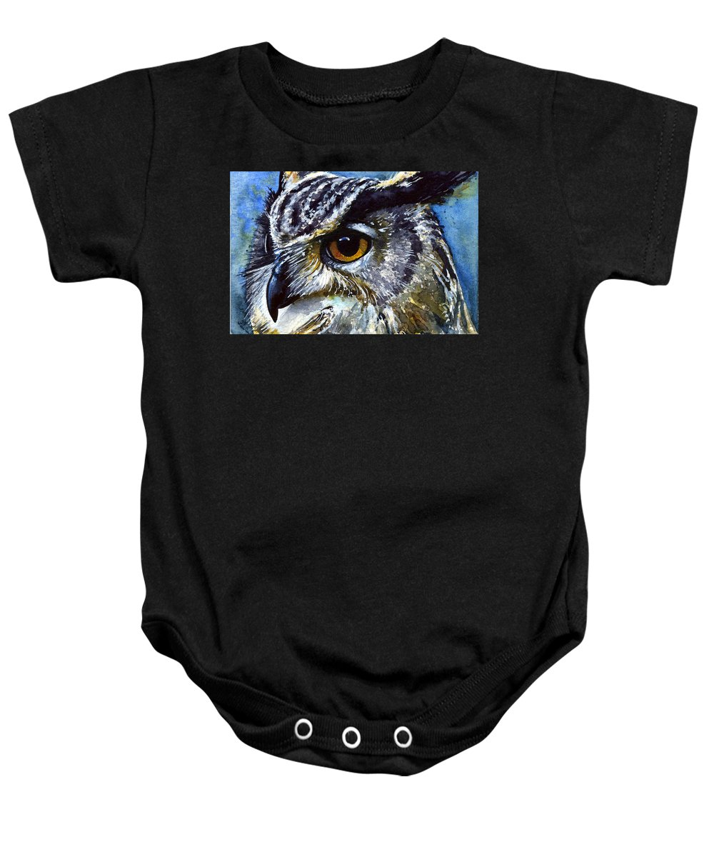 Owls Baby Onesie featuring the painting Eyes Of Owls No.25 by John D Benson