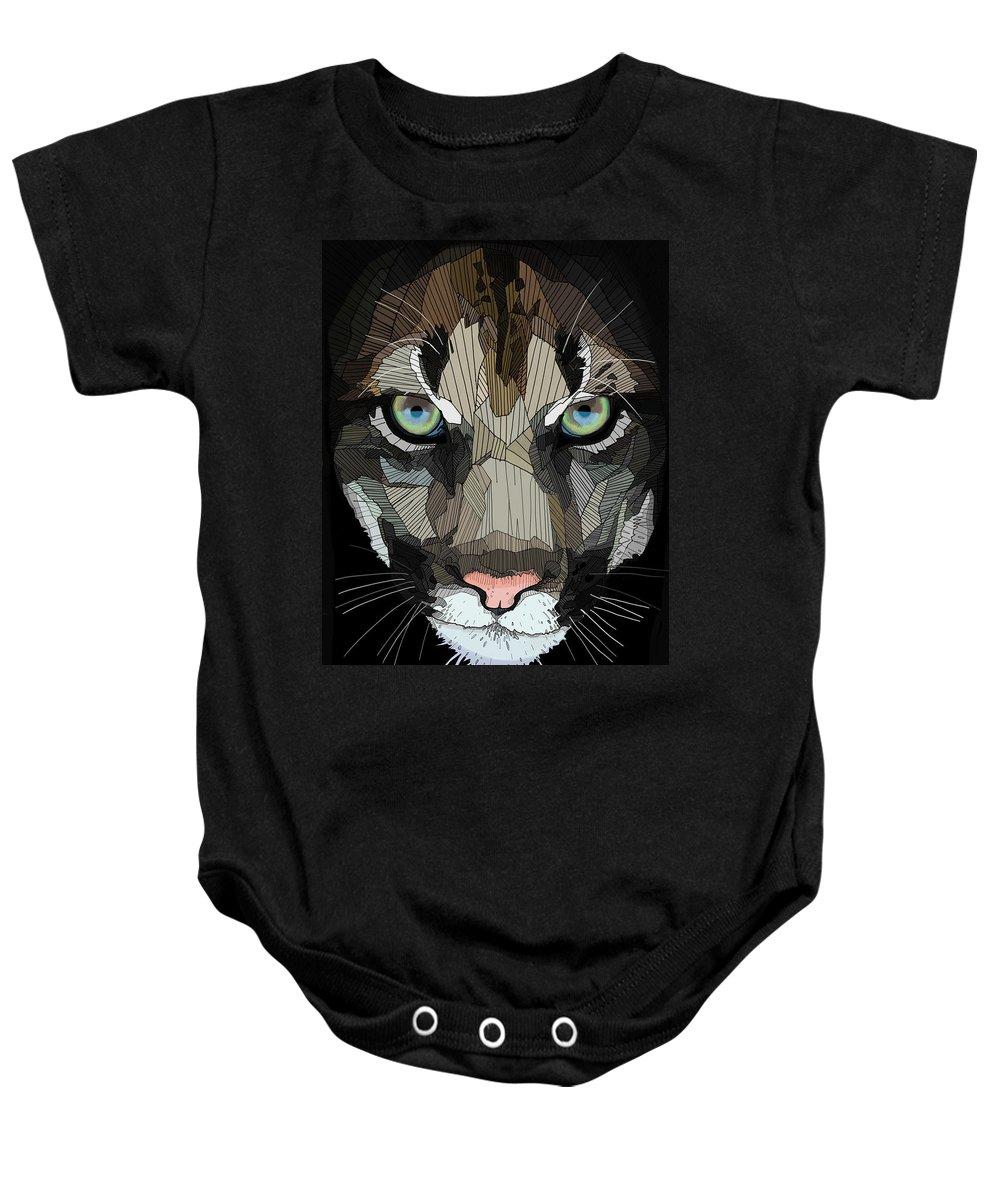 Puma Baby Onesie featuring the digital art Face De Puma by Erman Akyol