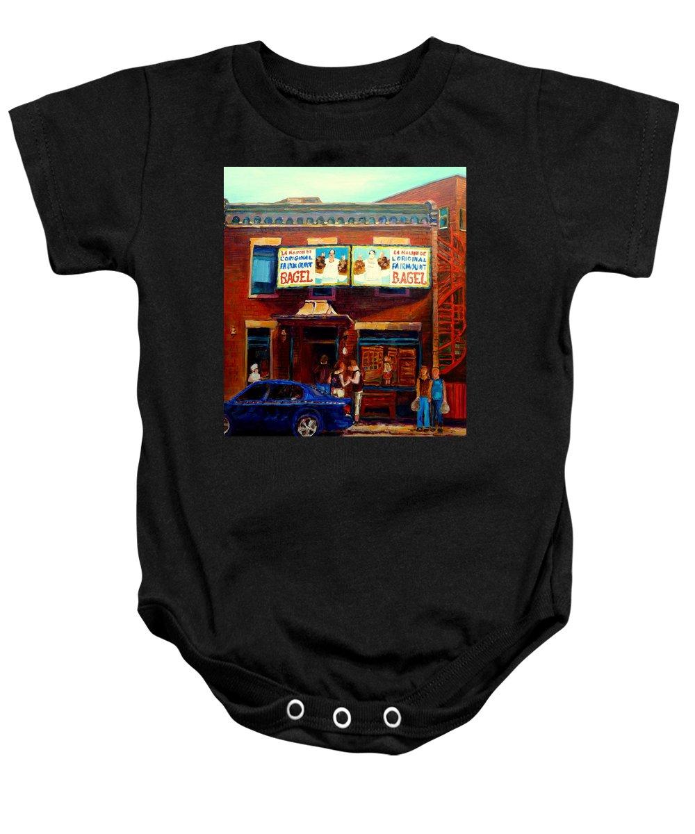 Fairmount Bagel Baby Onesie featuring the painting Fairmount Bagel By Montreal Streetscene Painter Carole Spandau by Carole Spandau