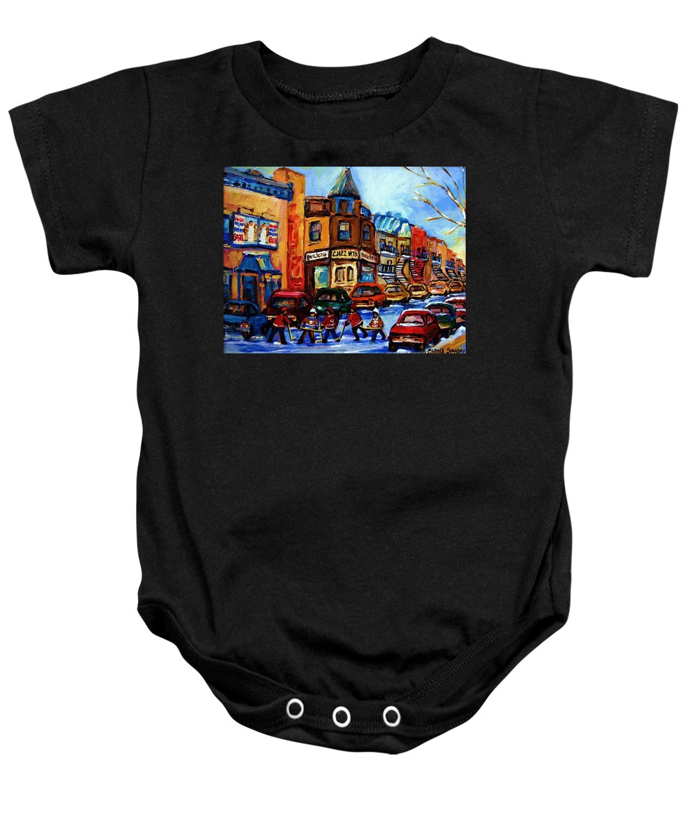 Hockey Baby Onesie featuring the painting Fairmount Bagel With Hockey Game by Carole Spandau