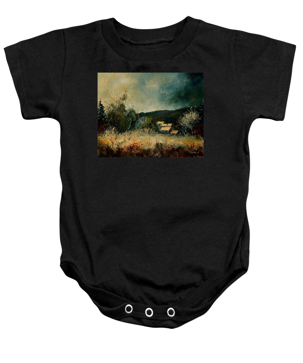 Village Baby Onesie featuring the painting Fall 4590 by Pol Ledent