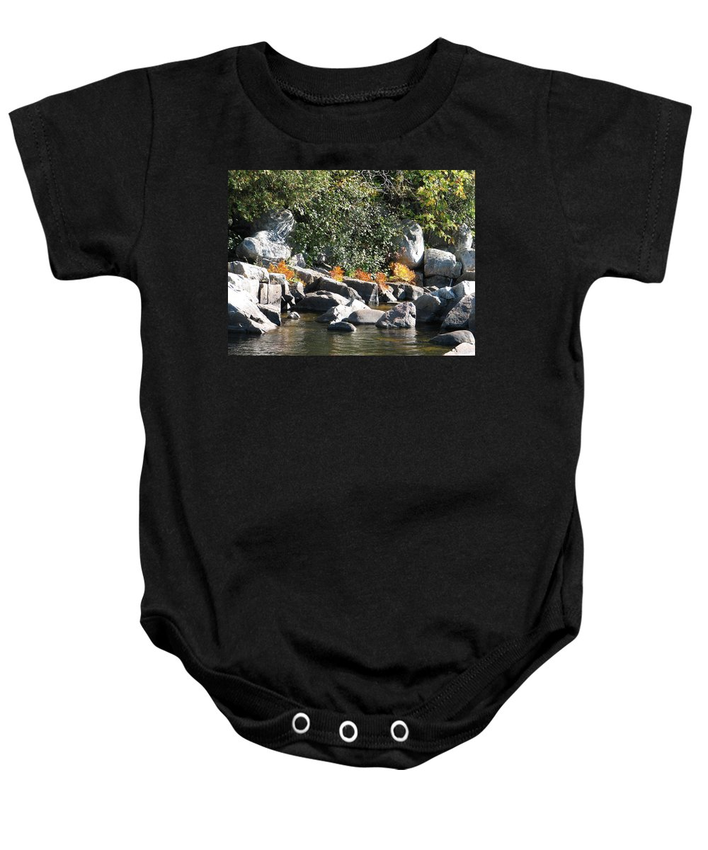 Creek Baby Onesie featuring the photograph Fall At The Creek by Kelly Mezzapelle