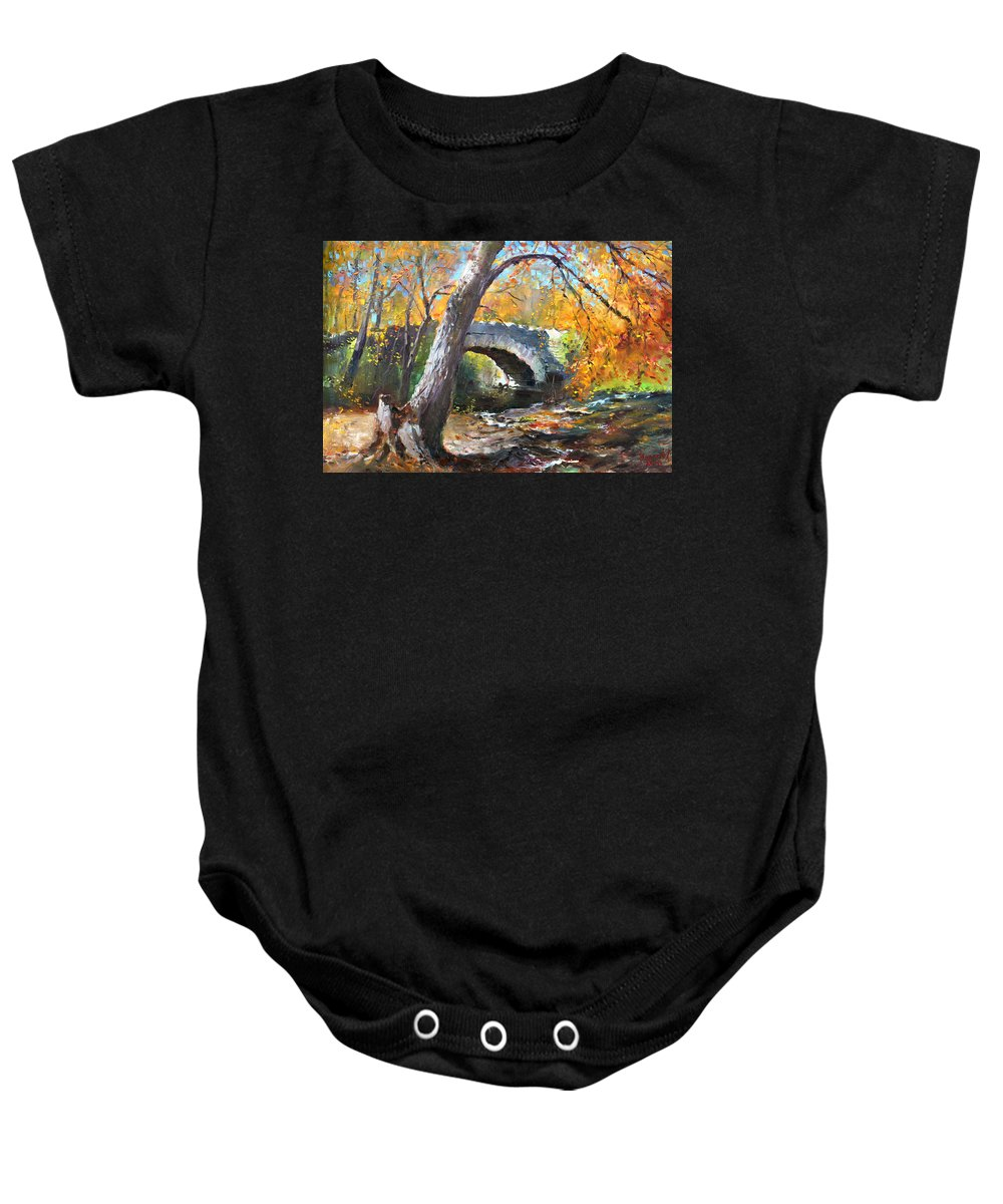 Bridge Baby Onesie featuring the painting Fall At Three Sisters Islands by Ylli Haruni