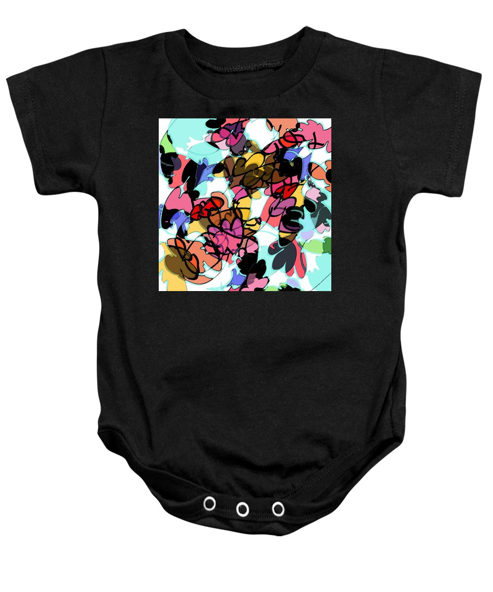 Abstract Baby Onesie featuring the digital art Fall Cartoon by Rachel Christine Nowicki
