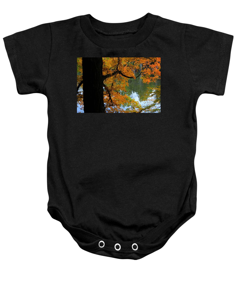 Tree Baby Onesie featuring the photograph Fall Day At The Lake by David Arment