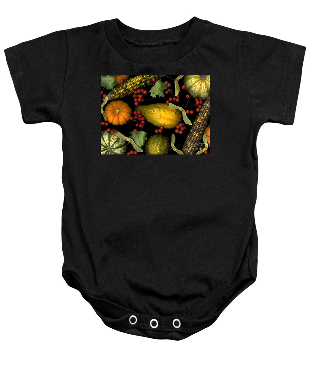 Slanec Baby Onesie featuring the photograph Fall Harvest by Christian Slanec