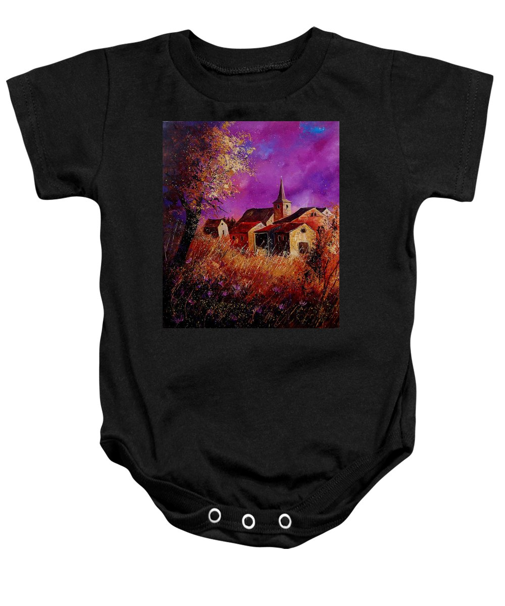 Village Baby Onesie featuring the painting Fall In Ardennes by Pol Ledent