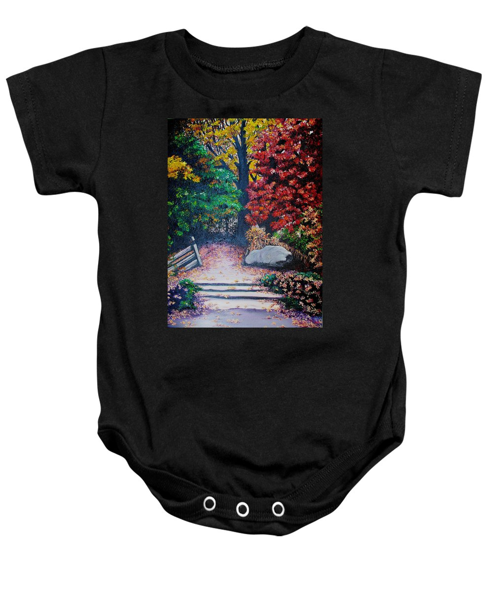 A N Original Painting Of An Autumn Scene In The Gateneau In Quebec Baby Onesie featuring the painting Fall In Quebec Canada by Karin Dawn Kelshall- Best