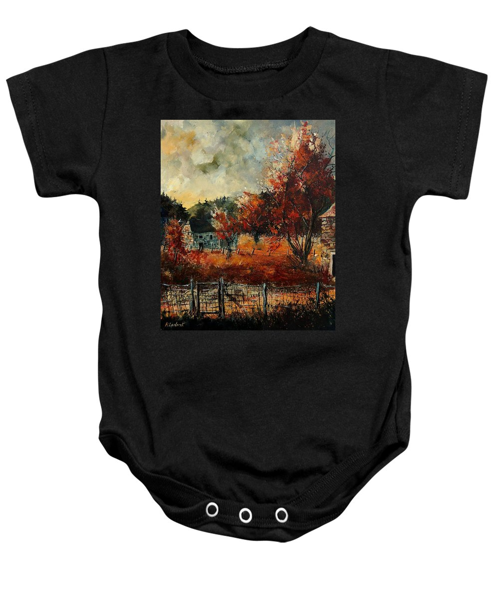 Village Baby Onesie featuring the painting Fall In Vivy by Pol Ledent