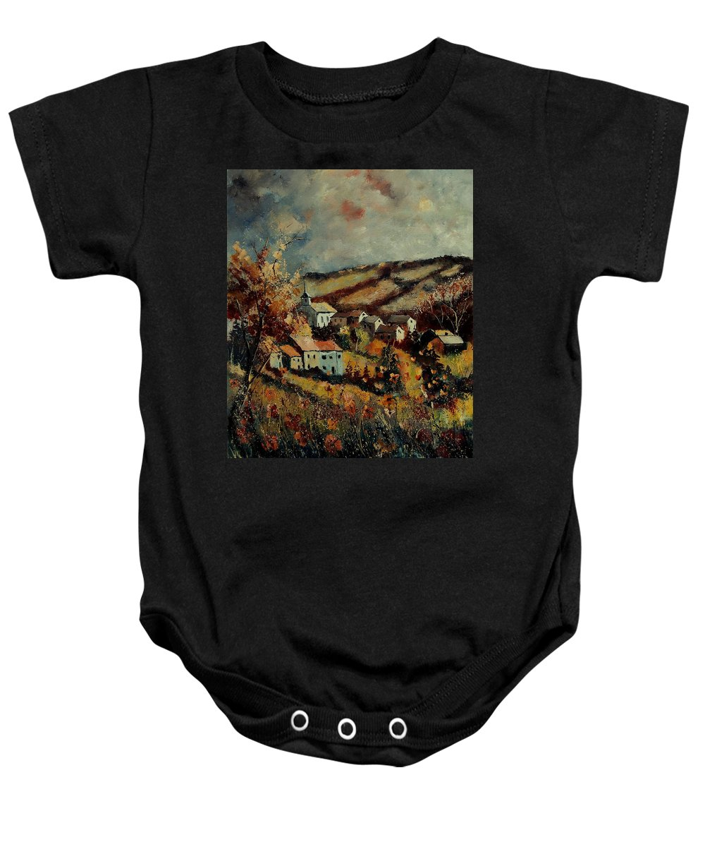 Landscape Baby Onesie featuring the painting Fall Landscape 670110 by Pol Ledent