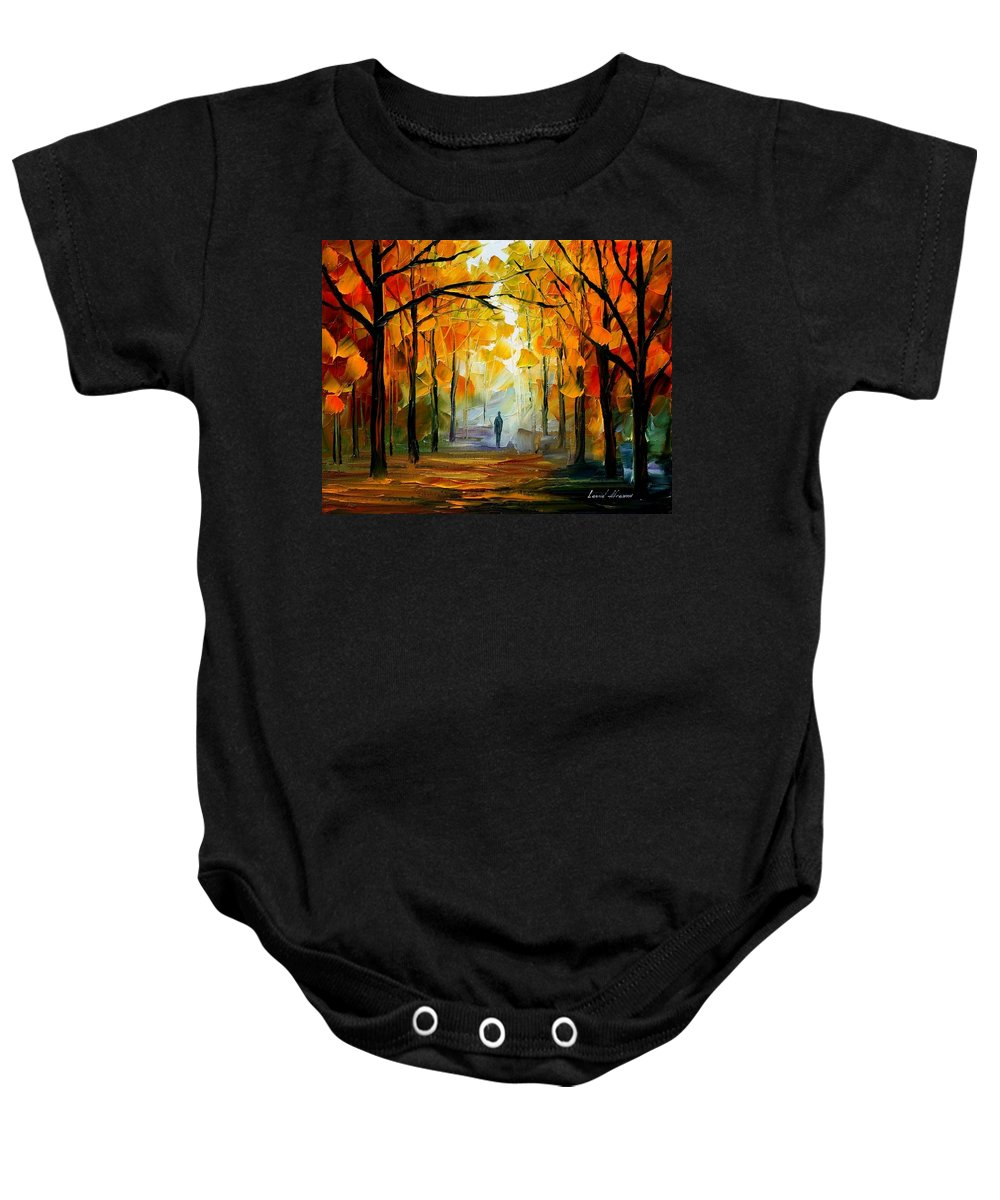 Landscape Baby Onesie featuring the painting Fall by Leonid Afremov