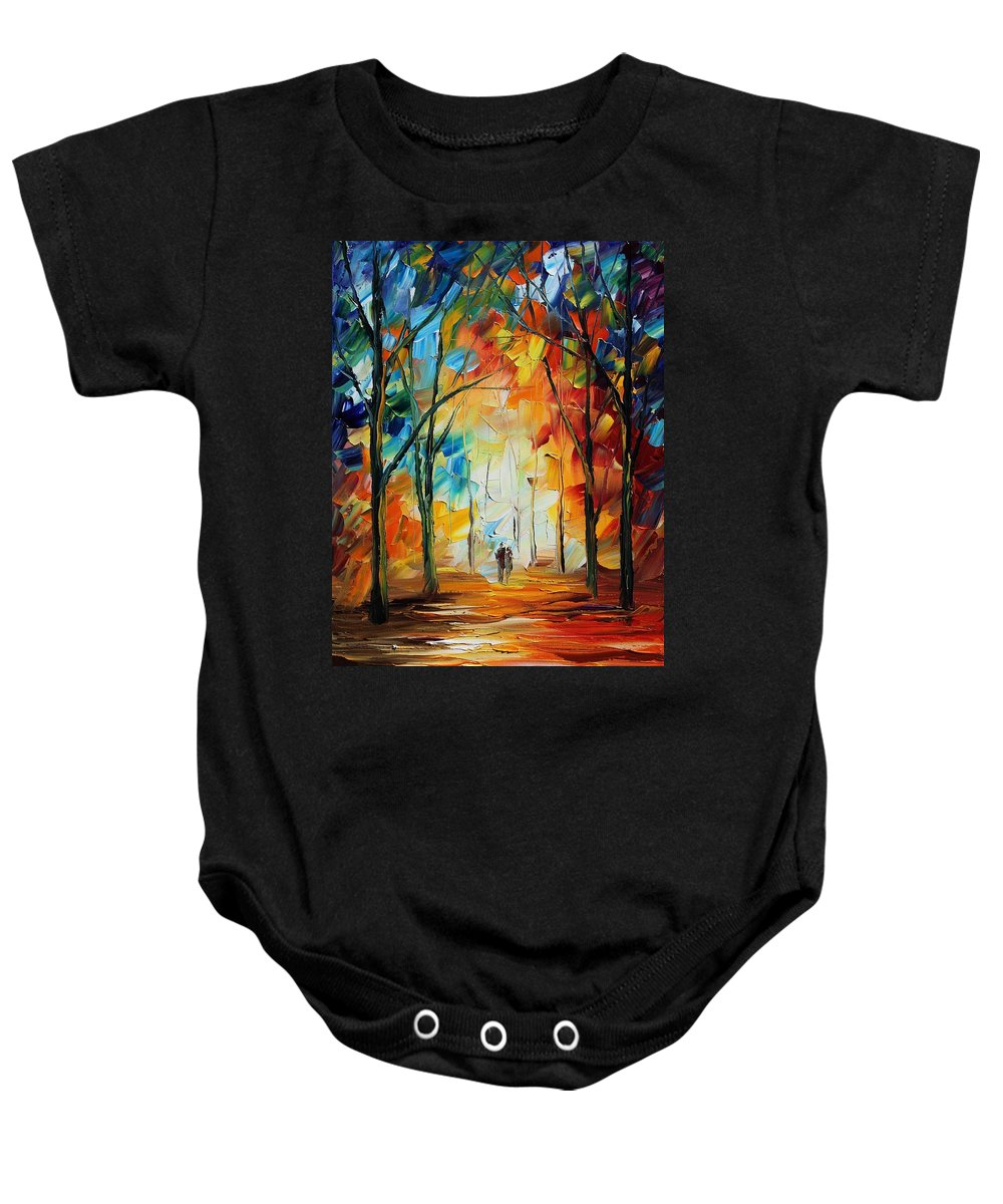 Afremov Baby Onesie featuring the painting Fall New Original by Leonid Afremov