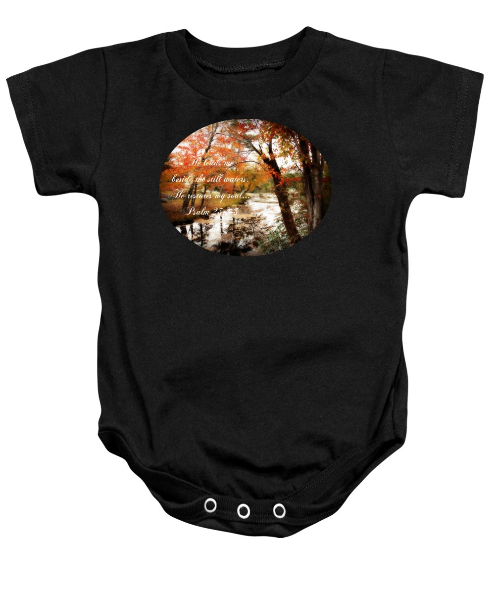 Fall Reflection Baby Onesie featuring the photograph Fall Reflection - Verse by Anita Faye