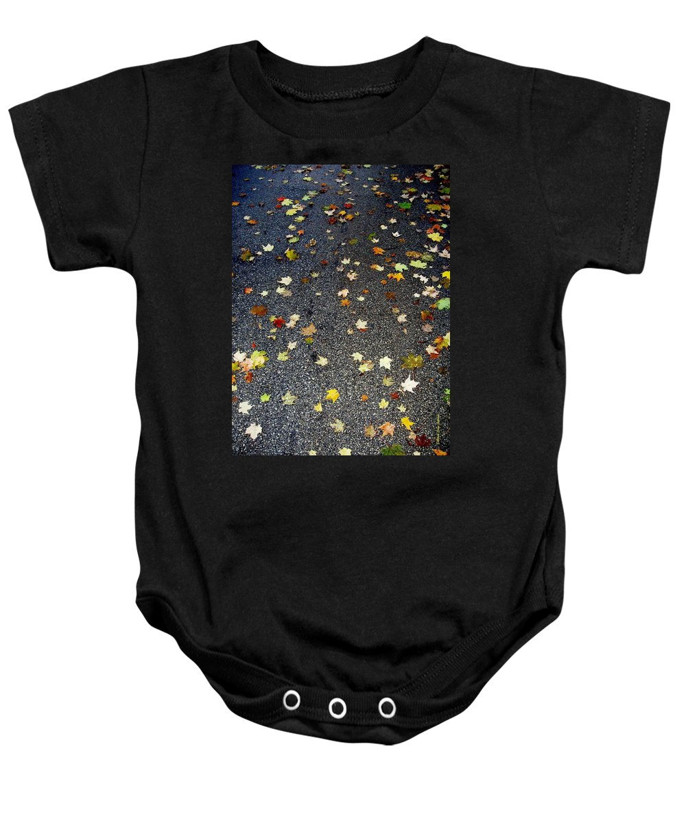 Leaves Baby Onesie featuring the photograph Fall Sparkle by Deborah Crew-Johnson