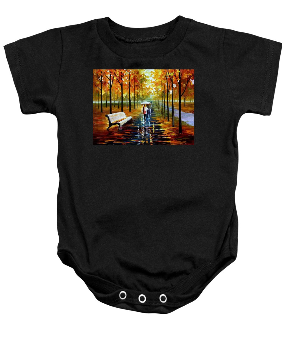 Afremov Baby Onesie featuring the painting Fall White Umbrella by Leonid Afremov