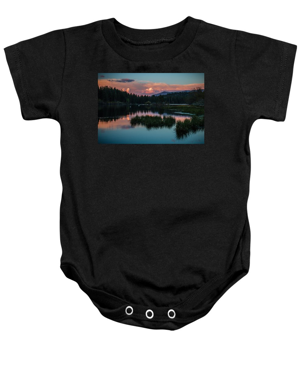 Sunset Baby Onesie featuring the photograph Fallen Leaf Sunset Serenity by Mike Herron