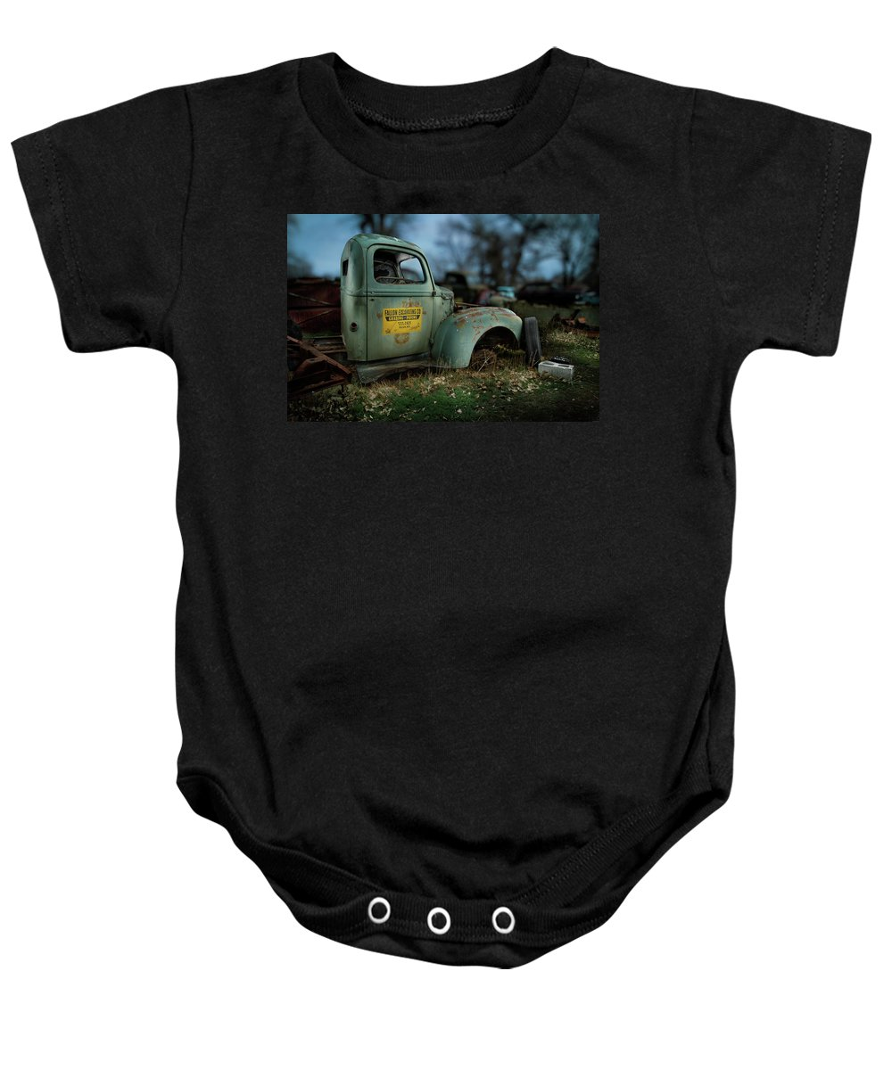 Antique Baby Onesie featuring the photograph Fallon Excavating Co. by YoPedro