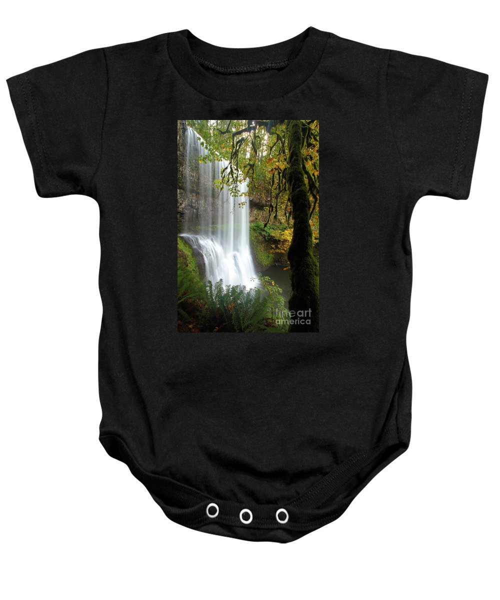 Silver Falls State Park Baby Onesie featuring the photograph Falls Though The Trees by Adam Jewell