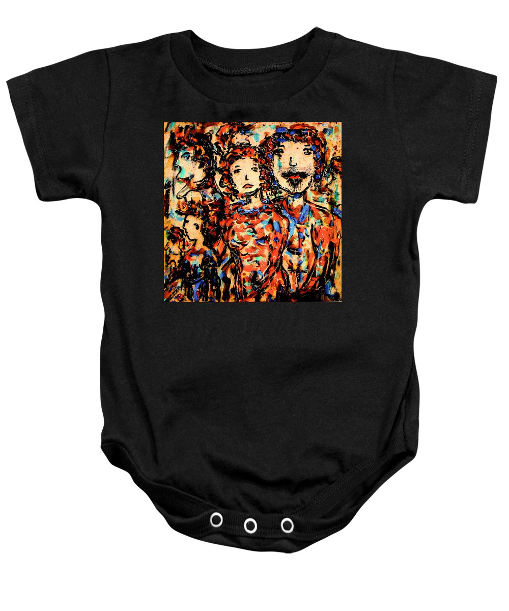 Figurative Art Baby Onesie featuring the painting Family And Friends by Natalie Holland