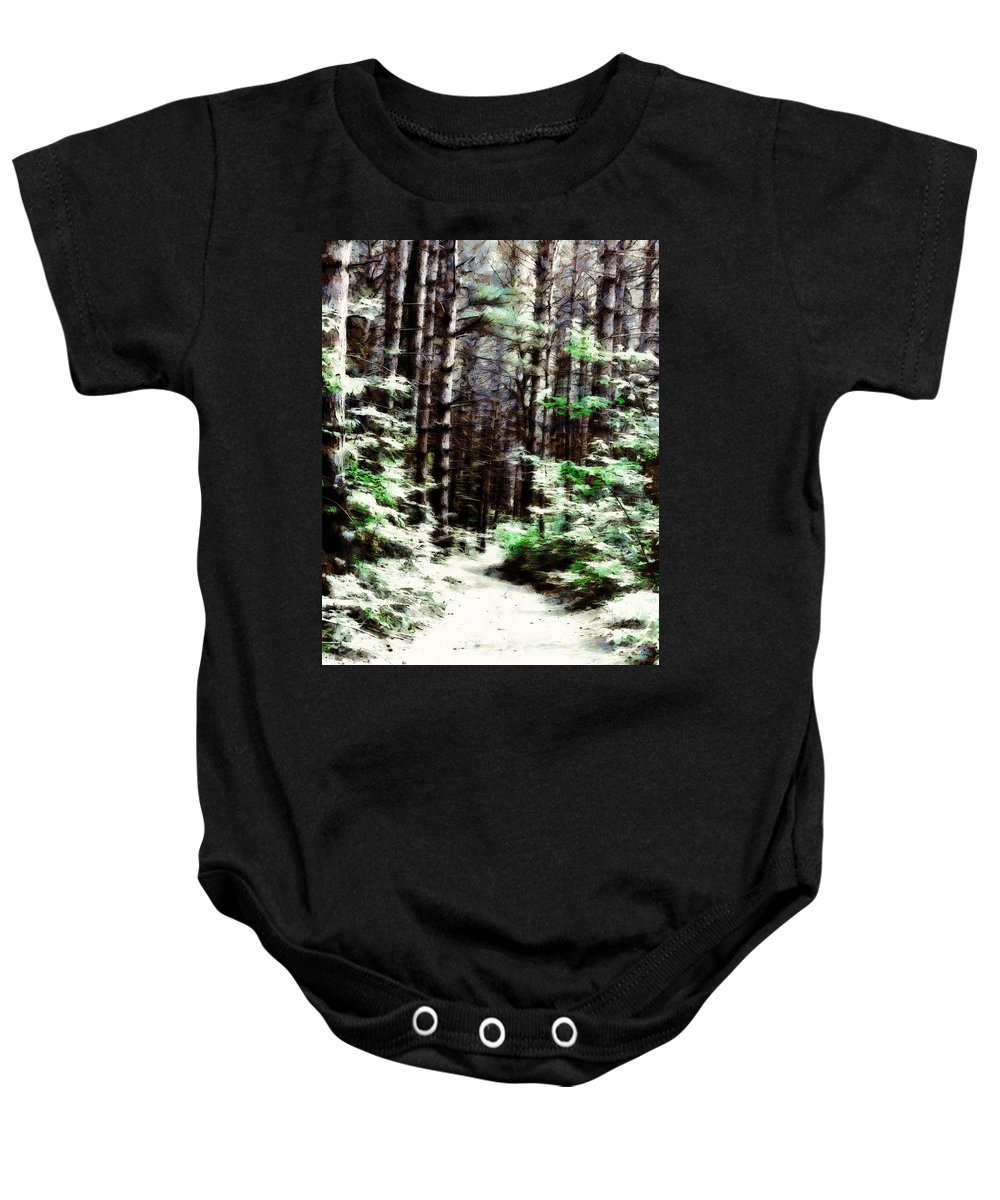 Forest Baby Onesie featuring the digital art Fantasy Forest by JGracey Stinson
