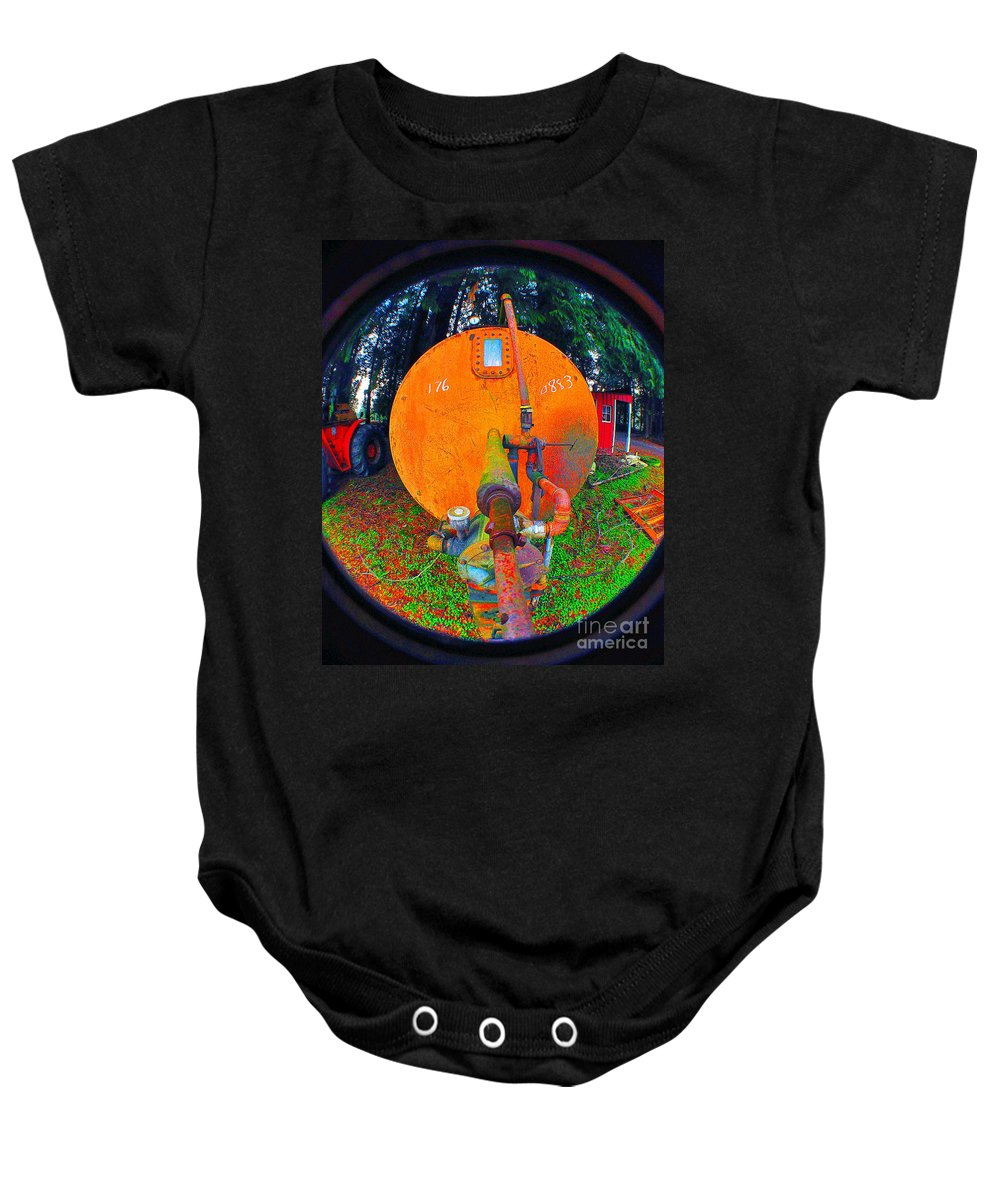 Clay Baby Onesie featuring the photograph Farm And Logging Machinery by Clayton Bruster