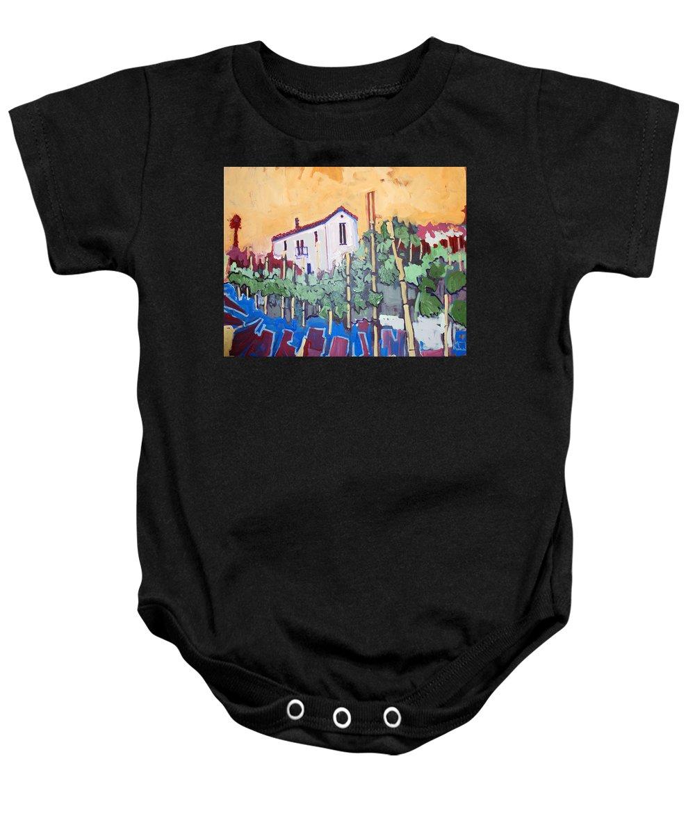 Farm House Baby Onesie featuring the painting Farm House by Kurt Hausmann