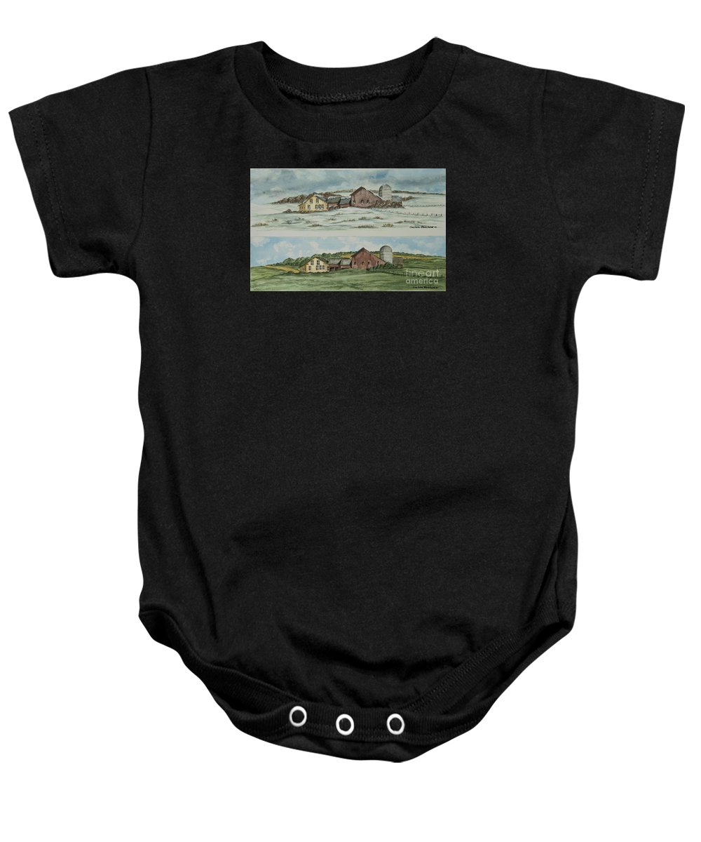 Winter Baby Onesie featuring the painting Farm Of Seasons by Charlotte Blanchard
