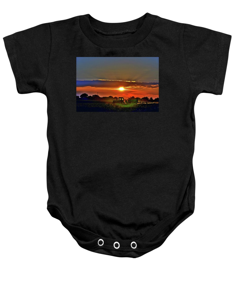 Farmer And Sunset Baby Onesie featuring the photograph Farmer And A Sunset. by Debby Lesko
