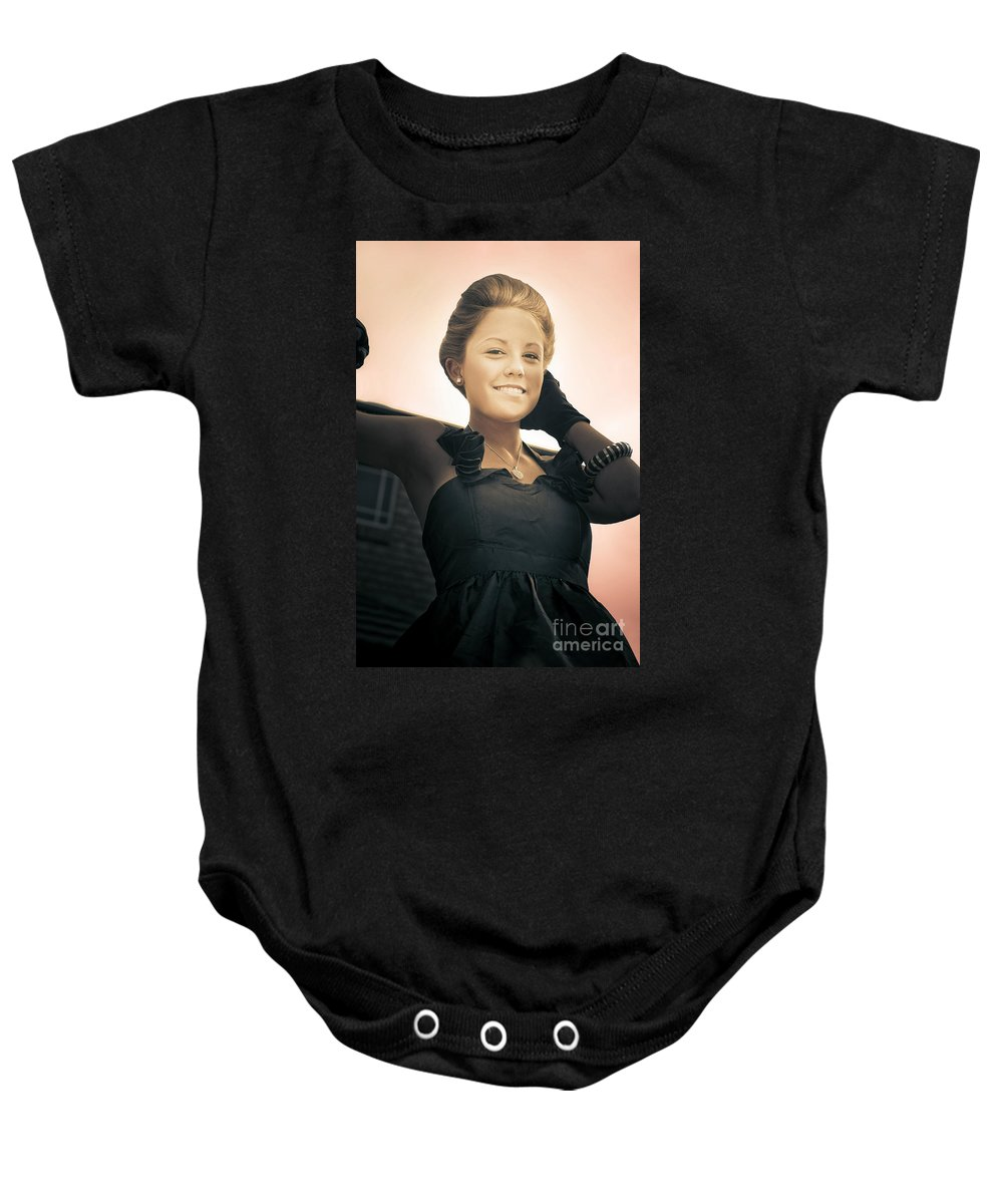 Antique Baby Onesie featuring the photograph Fashionable Wealthy Woman by Jorgo Photography - Wall Art Gallery