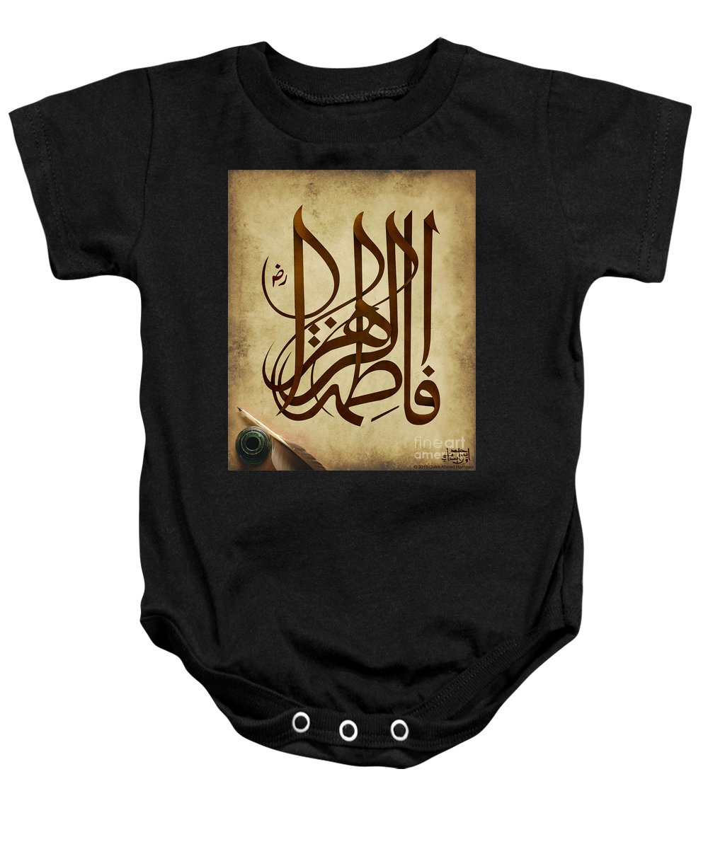 Ovais_ahmed_hamdani Urdu Calligraphy Nastaleeque Grunge Paintint Digital_painting Oil_paint Canvas Arabic Arabic_calligraphy Arabic_art Baby Onesie featuring the painting Fatematuzzahra by Ovais Ahmed Hamdani