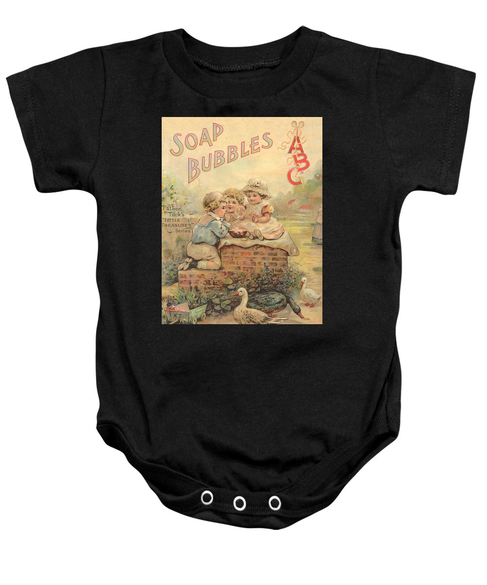 The Wurtherington Diary Baby Onesie featuring the painting Father Tucks Soap Bubble by Reynold Jay