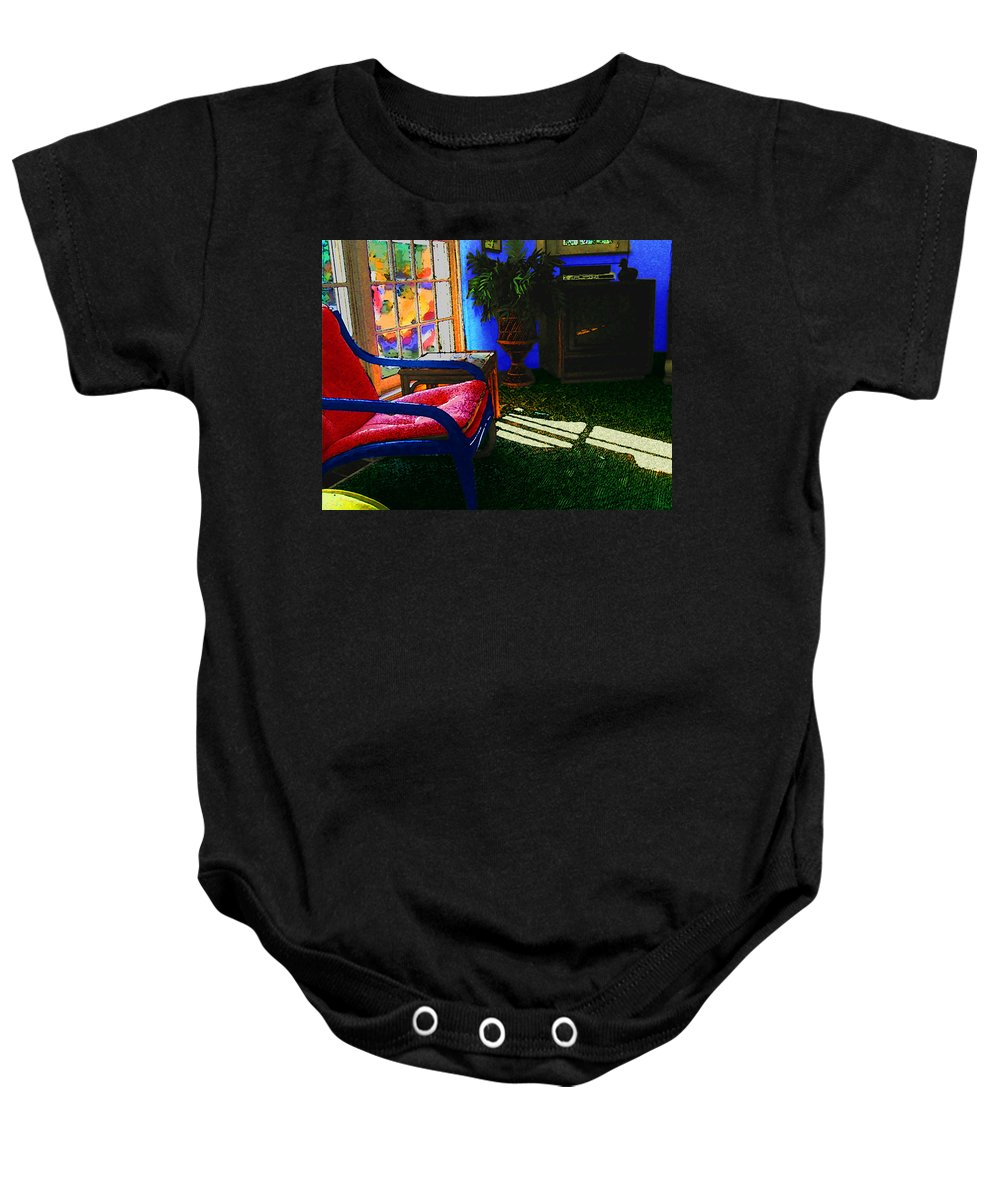 Fauve Baby Onesie featuring the digital art Faux Fauve Interior by William Sargent