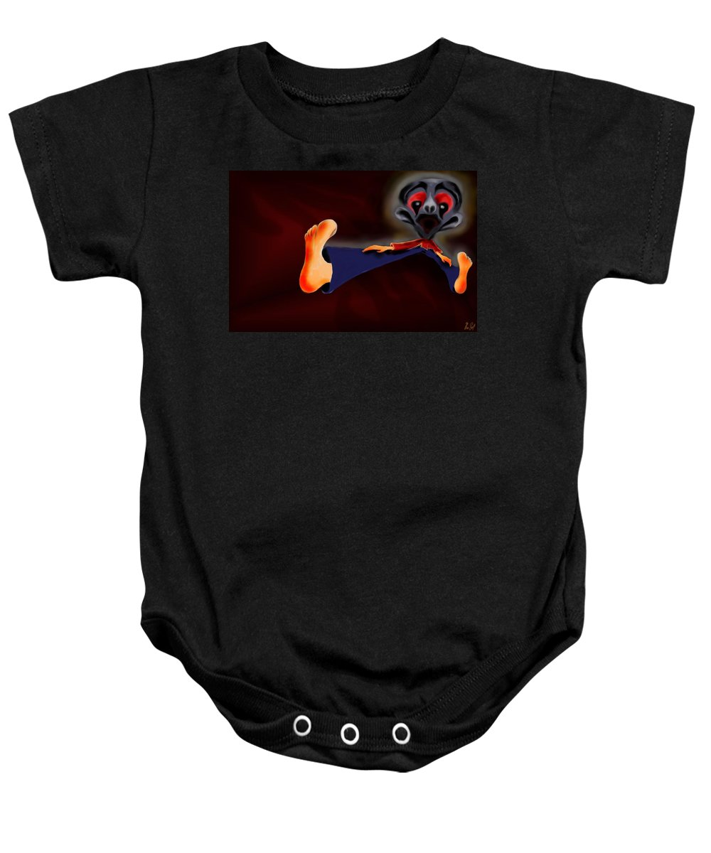 Dream Baby Onesie featuring the painting Fear Dream by Helmut Rottler
