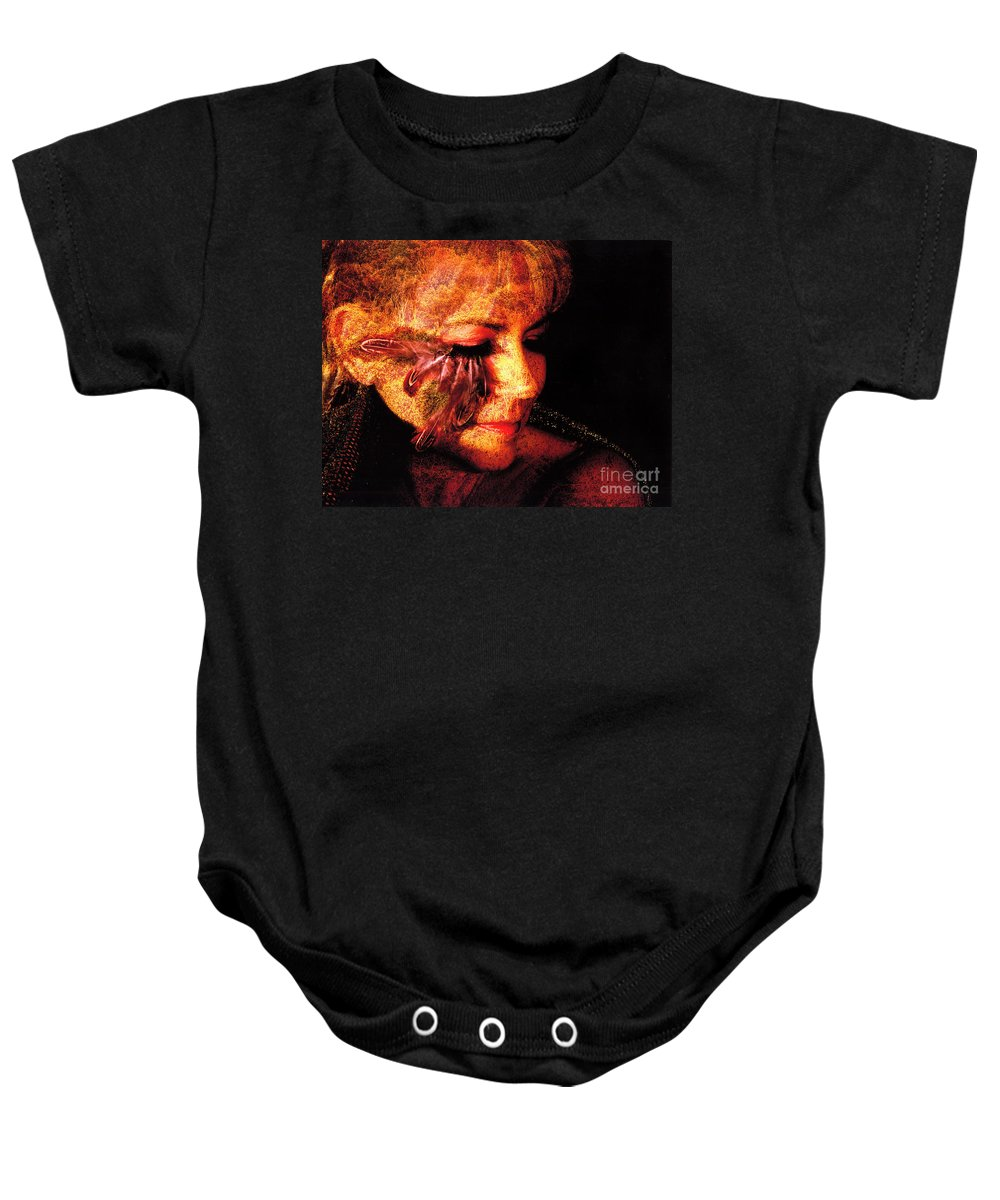 Clay Baby Onesie featuring the photograph Feathers Of Beauty by Clayton Bruster