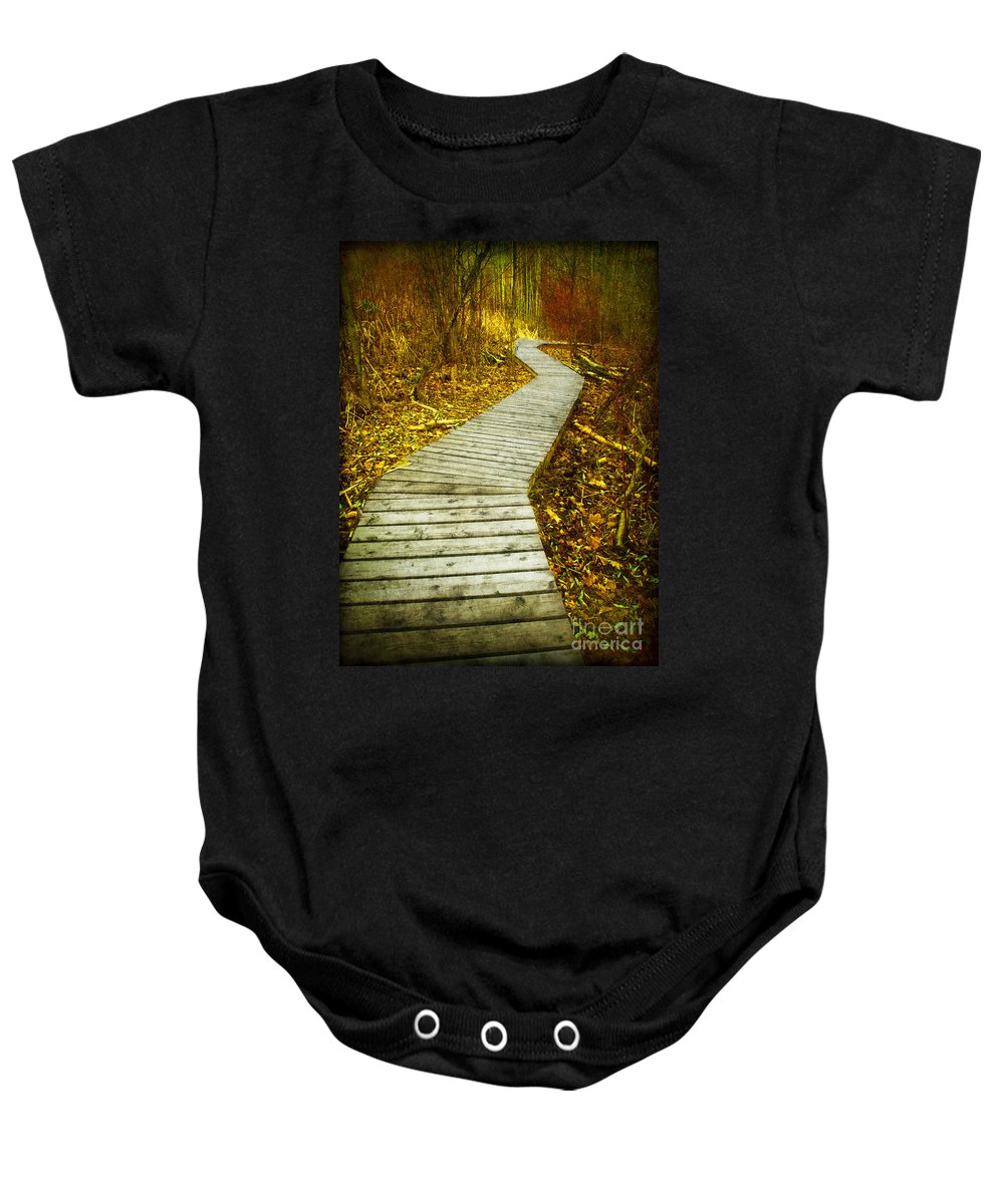 Boarwalk Baby Onesie featuring the photograph February 9 2010 by Tara Turner