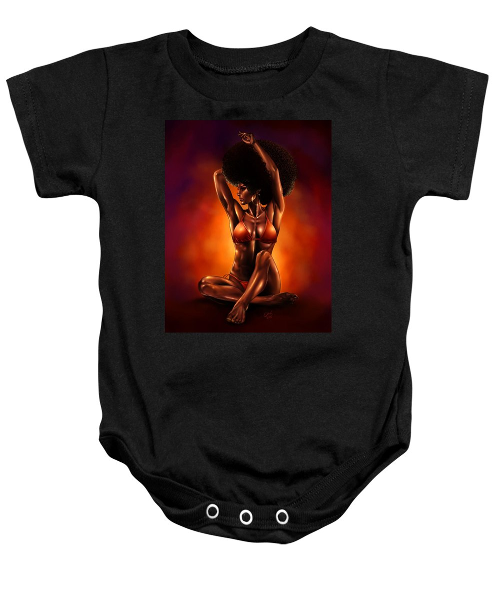 Blackgirl Baby Onesie featuring the painting Feelin It by Pete Tapang