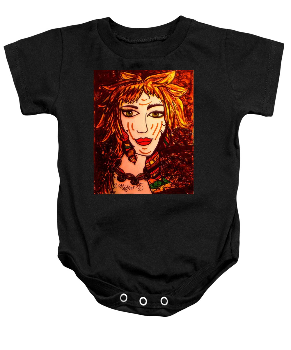 Woman Baby Onesie featuring the painting Female Animal by Natalie Holland