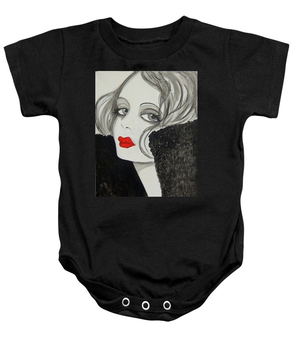 Cinema Baby Onesie featuring the painting Femme Fatale by Rosie Harper