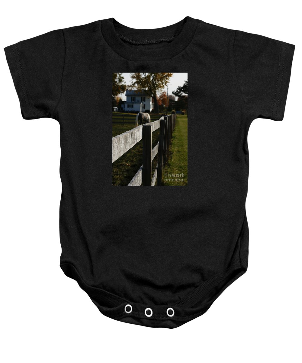 House Baby Onesie featuring the photograph Fence Line by Linda Shafer