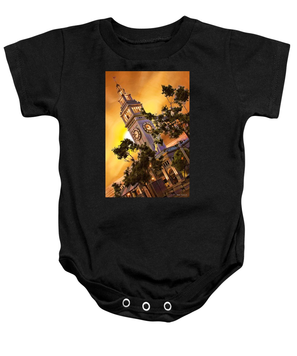 Ferry Building Baby Onesie featuring the photograph Ferry Building Golden Sun by Blake Richards